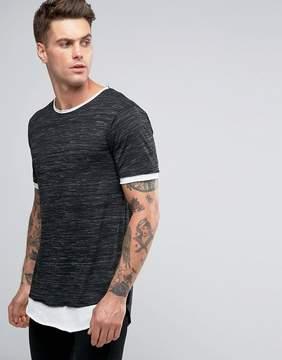 Pull&Bear Longline T-Shirt In Black