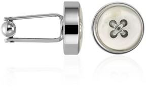 Forzieri Mother-of-Pearl Button Silver Plated Cuff links