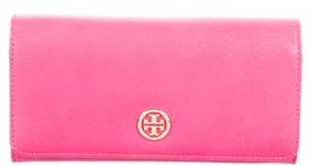 Tory Burch Leather Logo Wallet - PINK - STYLE