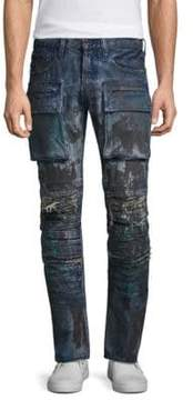 PRPS Demon Slim Straight Distressed Moto Jeans