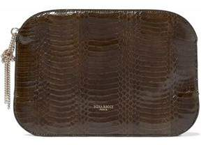 Nina Ricci Glossed Snakeskin Pouch