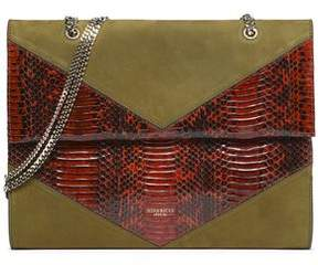 Nina Ricci Paneled Suede And Python Shoulder Bag