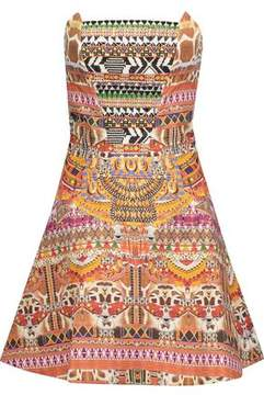 Camilla Strapless Embellished Embroidered Printed Cotton Mini Dress