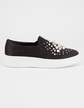 Soda Sunglasses Pearl Rhinestone Womens Slip-On Shoes