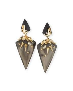 Alexis Bittar Golden Studded Dangling Clip-On Earrings