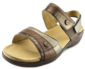 Aravon Katherine Women Open Toe Leather Gray Slides Sandal.