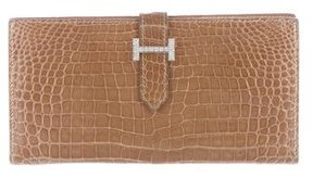 Hermes Porosus Crocodile & Diamond Bearn Wallet - NEUTRALS - STYLE