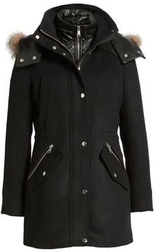 Andrew Marc Women's Brynn Wool Blend Parka With Genuine Fox Fur Trim & Removable Insulated Liner