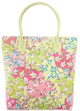 Emilio Pucci Leather-Trimmed Floral Print Tote