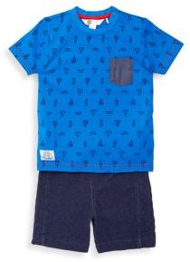 Petit Lem Baby's Arrow-Print Tee & Textured Cotton Shorts Set