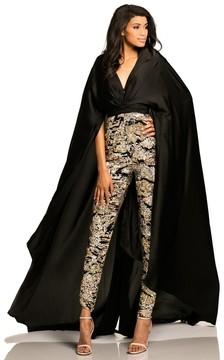 Johnathan Kayne 8053 Cape Sleeve Metallic Sequin Jumpsuit