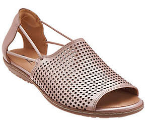 Earth Nubuck Leather Perforated Sandals- Shelly