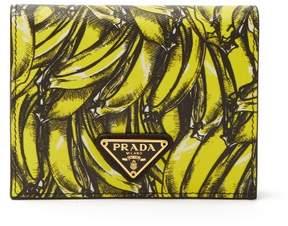 Prada Banana Print Saffiano Leather Wallet - Womens - Yellow Multi