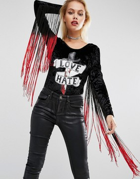 Jaded London Halloween Velvet Body With Fringe Sleeves And Sequin Patch