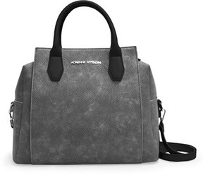 Adrienne Vittadini The Carlise Collection Snake Embossed Suede Satchel.