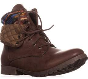 Rock & Candy Spraypaint Foldover Ankle Boots, Dark Brown Multi.