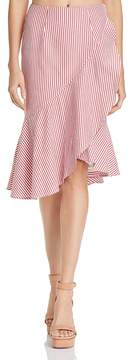 WAYF Naples Ruffled Striped Faux-Wrap Skirt