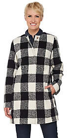 C. Wonder Wool Blend Buffalo Plaid Snap Front Coat