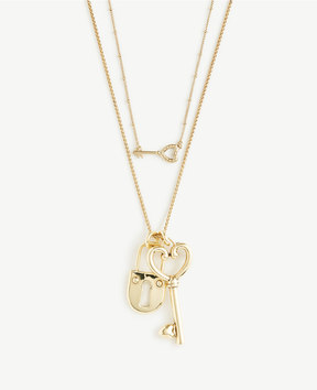 Ann Taylor Lock And Key Pendant Layering Necklace