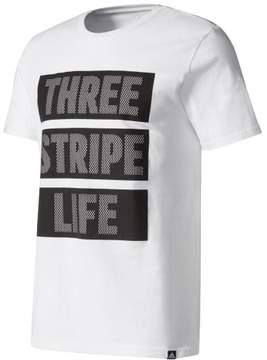 adidas Mens Three Stripe Life Graphic T-Shirt White L