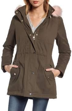 GUESS Women's Parka With Removable Faux Fur Trim Hood