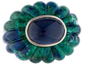 David Webb 18K Sapphire & Fluted Azurmalachite Ring