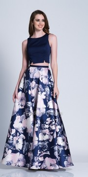 Dave and Johnny Two Piece Keyhole Floral Printed A-line Prom Dress