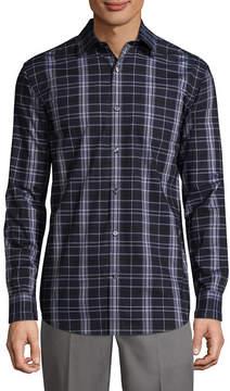 Claiborne Long Sleeve Plaid Button-Front Shirt