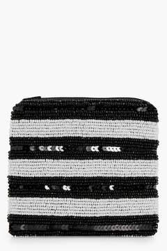 boohoo Mono Stripe Beaded Purse
