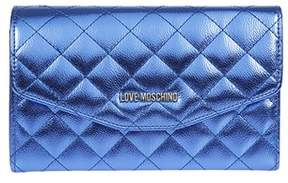 Love Moschino Women's Blue Leather Clutch.