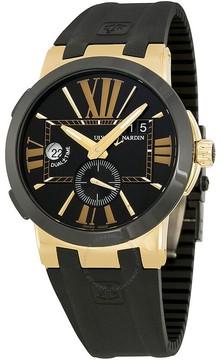 Ulysse Nardin Executive Dual Time Black Dial 18kt Rose Gold Black Rubber Men's Watch