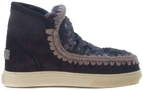 Mou Mini Eskimo Dark Grey Ankle Boots With Sequins