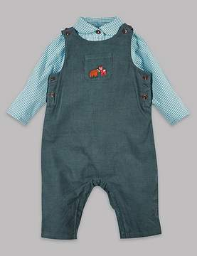 Marks and Spencer 2 Piece Cord Dungaree & Woven Bodysuit Outfit
