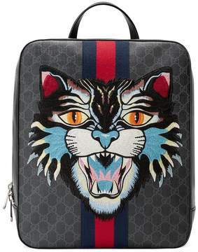 Gucci GG Supreme backpack with angry cat