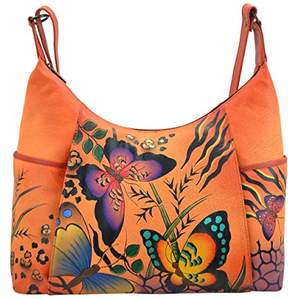 Anuschka Anna by Women's Genuine Leather Large Hobo Handbag | Hand Painted Original Artwork | Zip-Top Organizer | Animal Tangerine Butterfly