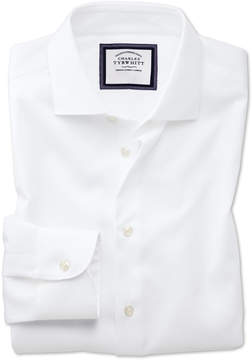 Charles Tyrwhitt Slim Fit Semi-Spread Collar Business Casual Non-Iron Modern Textures White Cotton Dress Shirt Single Cuff Size 15/34