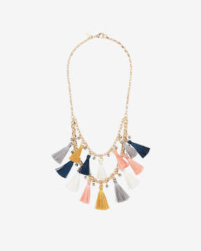 Express Two Row Beaded Tassel Necklace