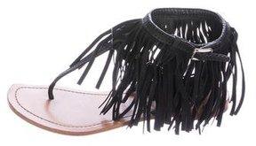 Prada Suede Fringe-Trimmed Sandals