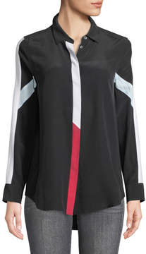 Equipment Long-Sleeve Button-Front Colorblocked Silk Shirt