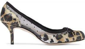 RED Valentino Leopard-Print Satin And Point D'esprit Pumps