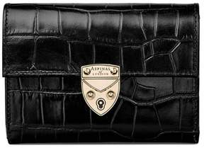 Aspinal of London Small Mayfair Purse In Deep Shine Black Croc