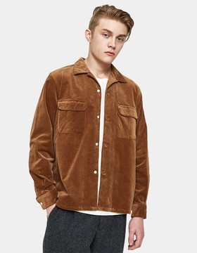 Beams Open Collar Corduroy Shirt in Brown