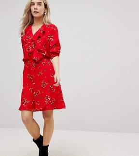 Vero Moda Petite Floral Printed Tea Dress With Frill Detail