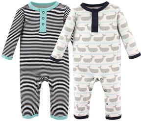 Hudson Baby Gray Whale & Black Stripe Playsuit Set - Infant