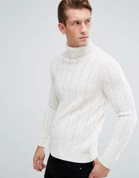 Benetton Wool Mix Roll Neck Sweater In Cable Knit