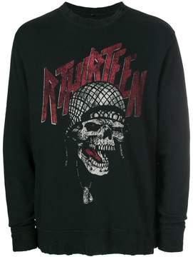 R 13 skull print sweatshirt