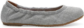 Toms Drizzle Grey Sparkle Woven Youth Ballet Flats
