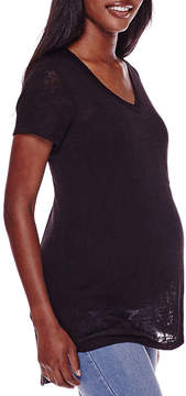Asstd National Brand Maternity Short-Sleeve Burnout Tee