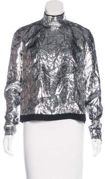 DELPOZO Metallic Zip-Up Blouse w/ Tags