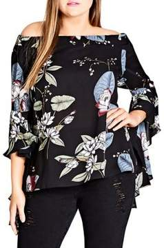 City Chic Plus Off-the-Shoulder Bell-Sleeve Top